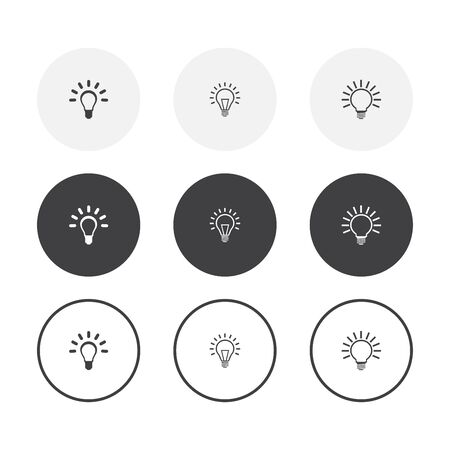 Set of 3 simple design light bulb icons. Rounded background light bulb symbol