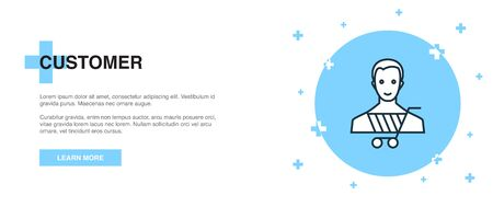 Customer icon, banner outline template concept. Customer line illustration 向量圖像