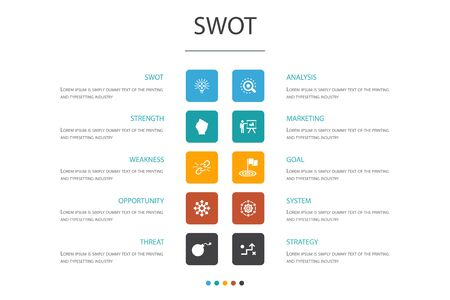 SWOT Infographic 10 option concept.Strength, weakness, opportunity, threat icons