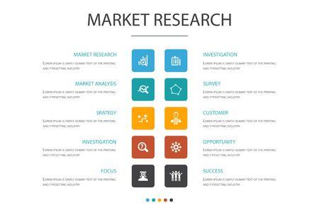 Market research Infographic cloud design template.strategy, investigation, survey, customer icons Ilustração