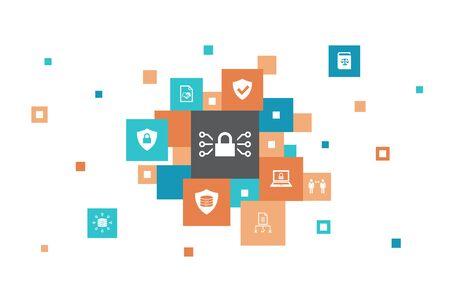 Diseño de burbuja de 10 pasos de infografía GDPR datos, privacidad electrónica, acuerdo, iconos de protección