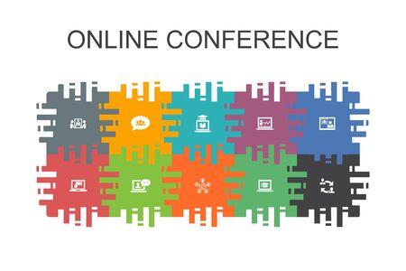 online conferentie cartoon sjabloon met platte elementen. Bevat pictogrammen zoals groepschat, online leren, webinar