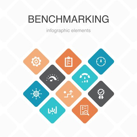 benchmarking Infographic 10 option color design.process, management, indicator simple icons