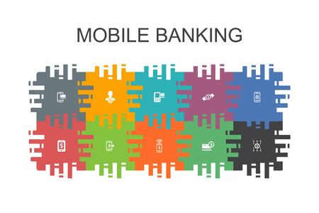 Mobile banking cartoon template with flat elements. Contains such icons as account, banking app, money transfer