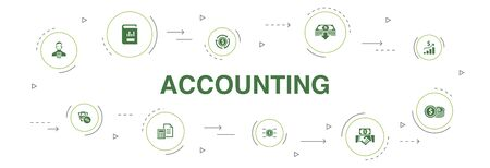 Accounting Infographic 10 steps circle design. Asset, Annual report, Net Income, Accountant icons