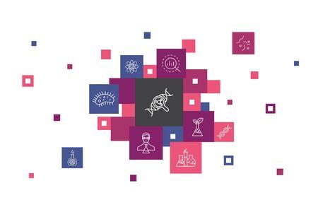 Biotechnology Infographic 10 steps pixel design. DNA, Science, bioengineering, biology simple icons Illustration