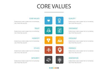 Kernwaarden Infographic 10 optie concept.trust, eerlijkheid, ethiek, integriteit pictogrammen