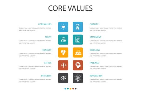Core values Infographic 10 option concept.trust, honesty, ethics, integrity icons