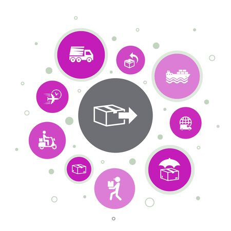 Delivery Infographic 10 steps bubble design.return, package, courier, express delivery icons