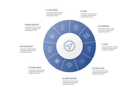 Infografía de navegación diseño de círculo de 10 pasos ubicación, mapa, gps, iconos simples de dirección