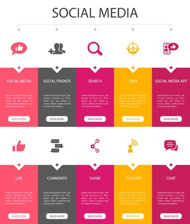 social media Infographic 10 option UI design. like, share, follow, comments simple icons