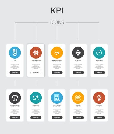 KPI Infographic 10 steps UI design.optimization, objective, measurement, indicator simple icons Illusztráció