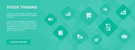 stock trading banner 10 icons concept.bull market, bear market, annual report, target icons