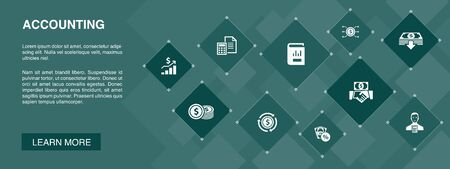 Accounting banner 10 icons concept.Asset, Annual report, Net Income, Accountant icons Stok Fotoğraf - 133750535