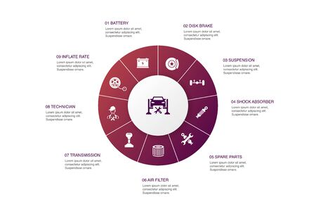 Car service Infographic 10 steps circle design. disk brake, suspension, spare parts, Transmission icons
