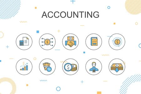 Accounting trendy Infographic template. Thin line design with Asset, Annual report, Net Income, Accountant