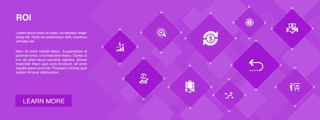 ROI banner 10 icons concept.investment, return, marketing, analysis icons 向量圖像