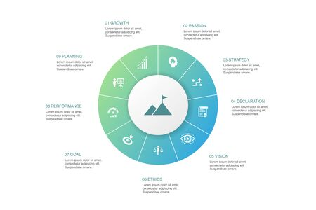 Mission Infographic 10 steps circle design.growth, passion, strategy, performance icons