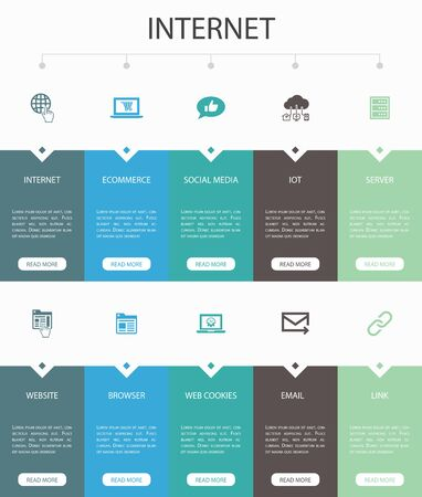 internet Infographic 10 option UI design.ecommerce, social media, website, Email simple icons