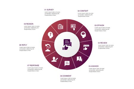retroalimentación Infografía diseño de círculo de 10 pasos.Encuesta, opinión, comentario, iconos de respuesta