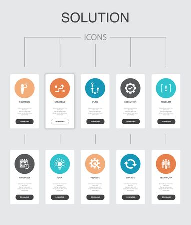 Solution Infographic 10 steps UI design.strategy, plan, execution, timetable simple icons Çizim