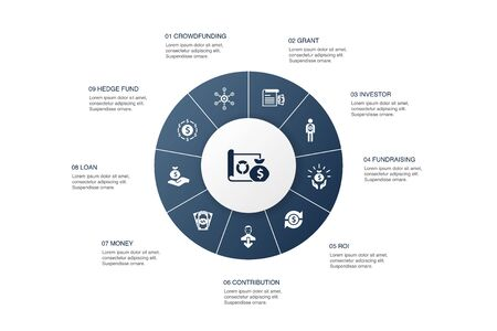 project funding Infographic 10 steps circle design. crowdfunding, grant, fundraising, contribution icons