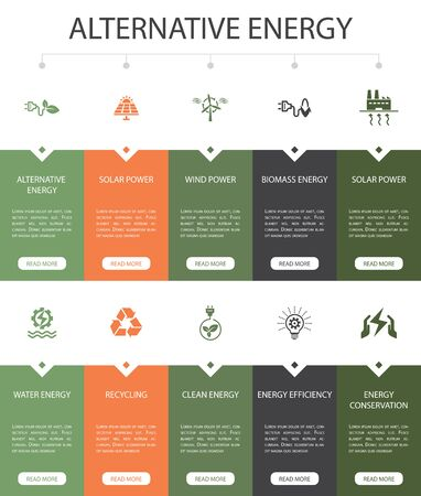 Alternative energy Infographic 10 option UI design.Solar Power, Wind Power, Geothermal Energy, Recycling simple icons 일러스트