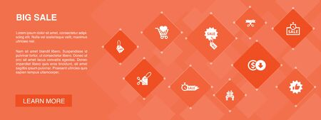 big sale banner 10 icons concept.discount, shopping, special offer, best choice icons Stock Illustratie