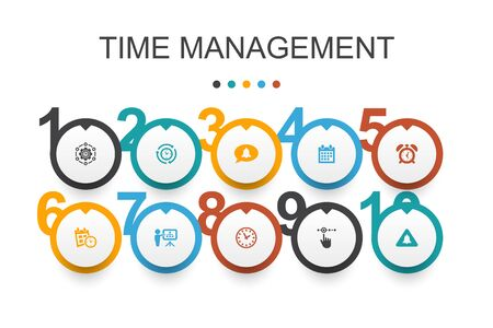 Time Management Infographic design template. efficiency, reminder, calendar, planning icons