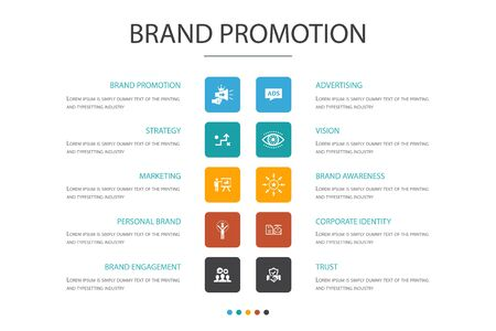 brand promotion Infographic 10 option concept.strategy, marketing, personal brand, advertising icons