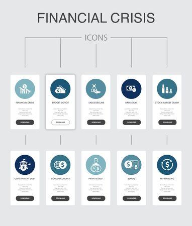 financial crisis nfographic 10 steps UI design.budget deficit, Bad loans, Government debt, Refinancing simple icons