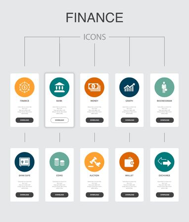 Finance nfographic 10 steps UI design.Bank, Money, Graph, Exchange simple icons