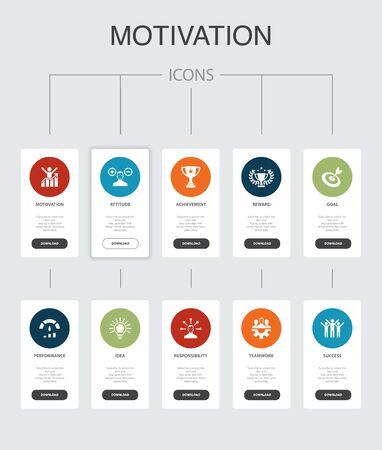 motivation Infographic 10 steps UI design.goal, performance, achievement, success simple icons