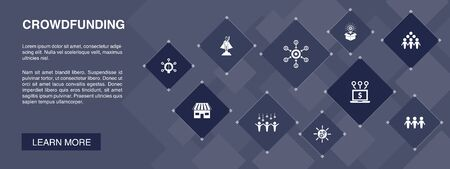 Crowdfunding banner 10 icons concept. startup, product launch, funding platform, community icons 向量圖像