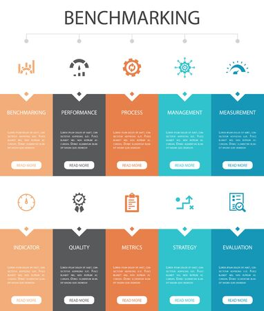 benchmarking Infographic 10 option UI design.process, management, indicator simple icons Иллюстрация