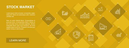 Stock market banner 10 icons concept.Broker, finance, graph, market share simple icons