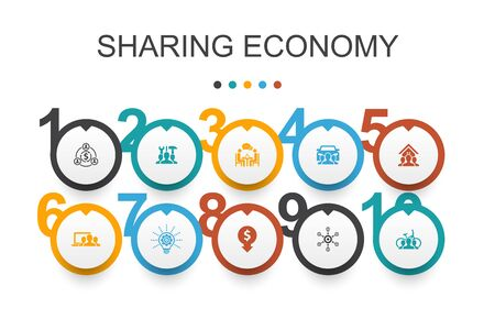 Sharing economy Infographic design template. coworking, car sharing, Crowdfunding, innovation icons Çizim