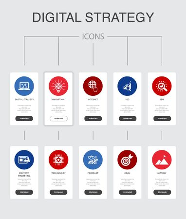 digital strategy Infographic 10 steps UI design.internet, SEO, content marketing, mission simple icons Vecteurs