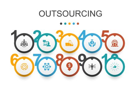 outsourcing Infographic design template. online interview, freelance, business process, outsource team icons Vektorové ilustrace