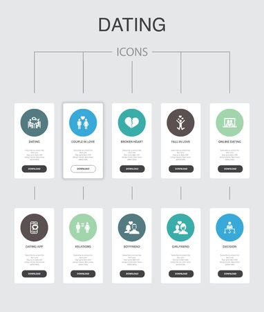 Dating Infographic 10 steps UI design. couple in love, fall in love, dating app, relations simple icons Illusztráció