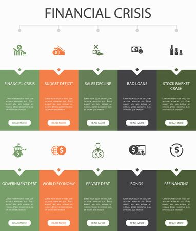 financial crisis Infographic 10 option UI design. budget deficit, Bad loans, Government debt, Refinancingsimple icons Illustration