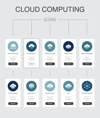 Cloud computing Infographic 10 steps UI design.Cloud Backup, data center, SaaS, Service provider simple icons