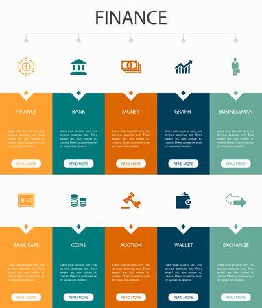 Finance Infographic 10 option UI design.Bank, Money, Graph, Exchange simple icons