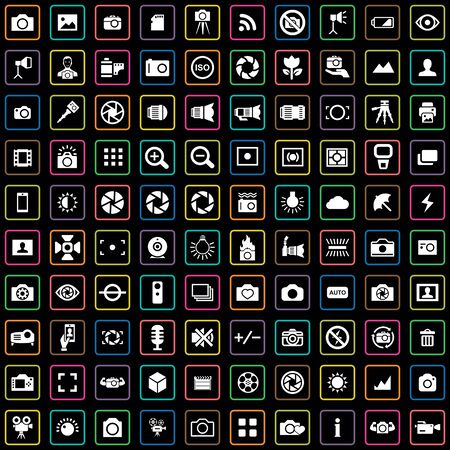 photography 100 icons universal set for web and UI Çizim