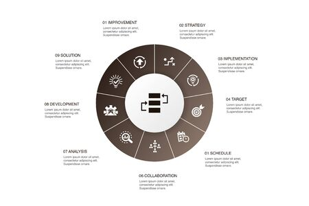 action plan Infographic 10 steps circle design.improvement, strategy, implementation, analysis icons