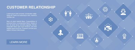 customer relationship banner 10 icons concept. communication, service, CRM, customer care icons