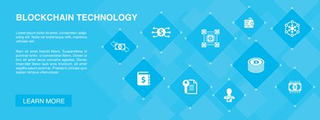 blockchain technology banner 10 icons concept.cryptocurrency, digital currency, smart contract, transaction icons