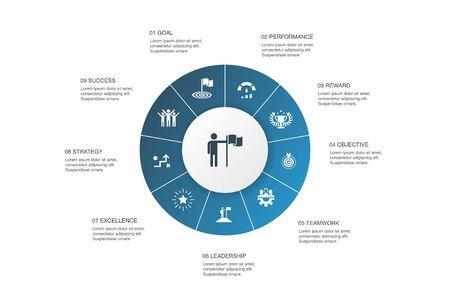 logro Infografía 10 pasos círculo design.goal, liderazgo, objetivo, iconos de trabajo en equipo