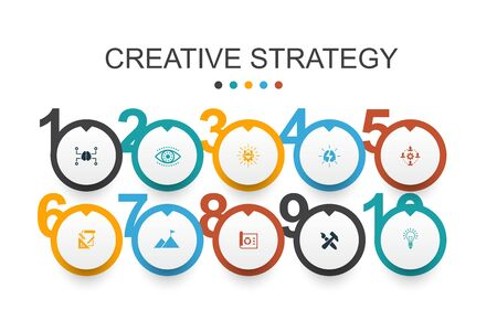 Creative Strategy Infographic design template vision, brainstorm, collaboration, project icons Ilustrace