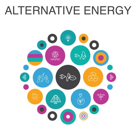 Alternative energy Infographic circle concept. Smart UI elements Solar Power, Wind Power, Geothermal Energy, Recycling
